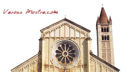 La facciata di San Zeno con il classico rosone romanico.